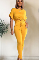Yellow roll up shoulder front twist hem matching set TRS1003