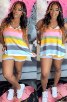 Dark Yellow Casual Polyester Striped Sleeveless Round Neck Tank Top Shorts Sets ML7335