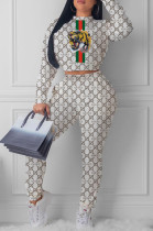 White Casual Polyester Animal Graphic Long Sleeve Round Neck Tee Top Long Pants Sets HY5093