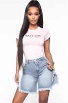 Side Split Tassel Hem Short Denim Jeans LD8705