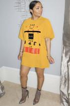 Yellow Slogon Graphic Print Loose T Shirt GL6250