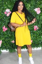 Yellow Casual Short Sleeve Flat Pocket Shift Dress QZ6092
