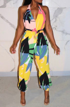 Yellow Sexy Polyester Sleeveless Deep V Neck Self Belted Backless Tank Jumpsuit KA7099