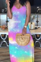 Blue Purple Casual Polyester Tie Dye Sleeveless V Neck Mid Waist Slip Dress MA6569