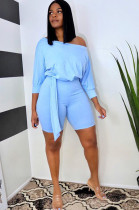Light Blue Casual Polyester Half Sleeve Off Shoulder Knot Side Tee Top Shorts Sets WA5108