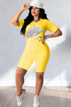 Fan Graphic Print Yellow Solid Color Shorts Sets Q532