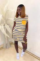 Yellow Stripes Panel Flat Pocket Mini Dress SDD9248