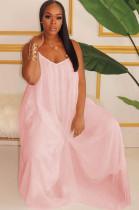 Pink Solid Color Spaghettti Strap Puff Cami Dress W8263