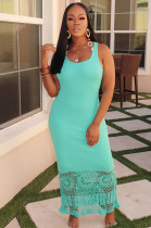 Mint Green Square Neck Hollow-out Bottom Cami Long Dress HM5288