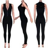 Gray Off Shoulder Waist Wrap Hoddie Top & Bodycon Pants Set HR8101