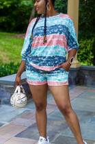 Pink Blue Casual Polyester Tie Dye Batwing Sleeve Round Neck Backless Tee Top Shorts Sets SMD2035