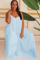 Blue Solid Color Spaghettti Strap Puff Cami Dress W8263