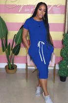 Blue Casual Short Sleeve Round Neck Split Hem Drawstring Waist Shift Dress AL092