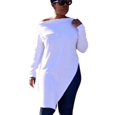 White Leisure Zipper Deco Bodycon Pure Color Split Long T-Shirt HG5120