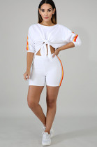 White Front Knot Bow Side Stripes Top & Bodycon Short Pants T3315
