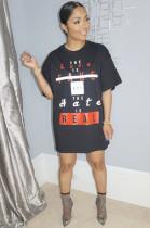 Black Slogon Graphic Print Loose T Shirt GL6250