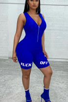 Blue Casual Polyester Letter Sleeveless Tank Jumpsuit RB3063