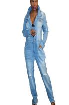 Denim loose patch pocket halft button jumpsuit SMR9570