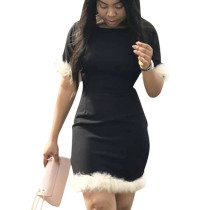 Black Leisure O Neck Short Sleeves Feather Patchwork Bodycon Dress LS6327
