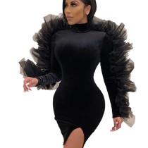 Black Pleated Embroidery SIde Details Trim Side Split Midi Dress CY1212