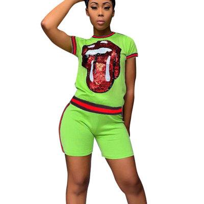 Green Sequins Print T Shirts Midi Shorts Two Pieces Sets CM566