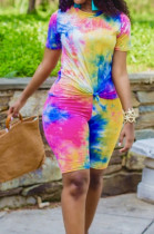 Colorful Yellow Casual Polyester Tie Dye Short Sleeve Round Neck Tee Top Capris Pants Sets QZ4203