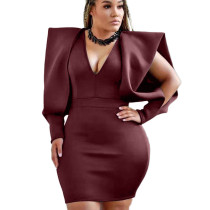 Wine Red Office Ladies V Collar Solid Color Dew Arm Sleeves Wrap Dress YX9165