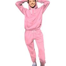 Pink Running Drawstring Plain Color Sets Long Sleeve Hoodie Tight Pants YS321