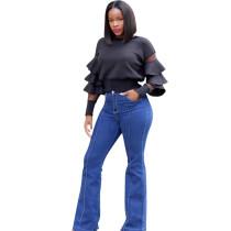 Black Ruffle Sleeves Short T Shirts LM9037