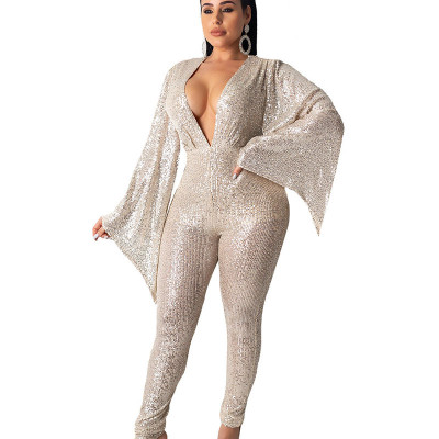 Champagne Party Sequins Deep V Neck Loose Sleeves Jumpsuit Casual Clubwear NK079