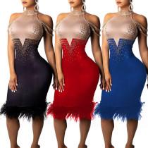Fashion Sleeveless Bodycon Dress With Diamond CCY8056