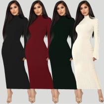Elegant Solid Bandage Long Dress ALS070