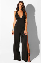 Black Plunging Neck Side Hollow-out Bell-bottom High Rise Waist Jumpusit CYF2056