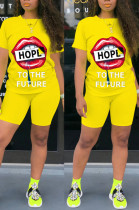 Yellow Casual Polyester Mouth Graphic Short Sleeve Round Neck Tee Top Shorts Sets TZ1096
