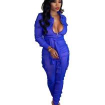 Blue Fashionable Bandage Cargo Style Zipper Pure Color Jumpsuit BN9214