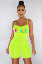 Green Casual Sexy Polyester Letter Sleeveless Scoop Neck Spaghetti Strap Open Back Cami Jumpsuit SN3765