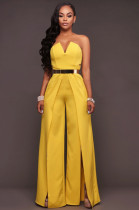 Yellow Off Shoulde Self-belted Loose Bell-bottom Split Jumpsuit CYF8917
