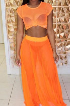 Orange Casual Polyester Short Sleeve Round Neck Tee Top Long Skirt Sets OX8023