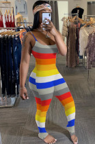 Colourful Casual Polyester Striped Sleeveless Round Neck Ruffle Cami Jumpsuit SH7179