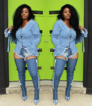 Wholesale Jeans Flare Sleeves Bodycon Coat D8219