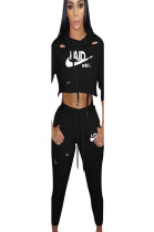 Black Hooded Two-Piece Sport Pants Set with front logo print LS6079
