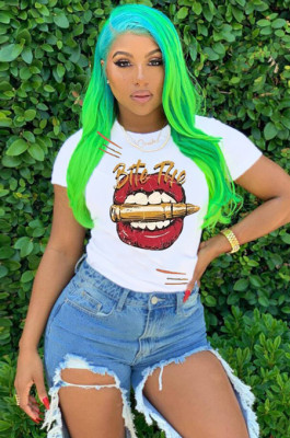 White Casual Polyester Mouth Graphic Short Sleeve Round Neck Tee Top AMM8237