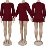 Gray Factory Price Comfy Long Sleeved Pure Color Leisure Dress KA7068