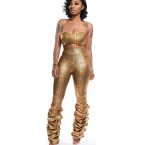 Sexy golden sequined two piece set collarless top SN3718