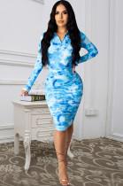 Blue Casual Polyester Tie Dye Long Sleeve V Neck Ruffle Mini Dress Q557
