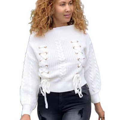 Warm Ladies Flat Shoulder Tops Eyelets Bandage White Sweater YS323