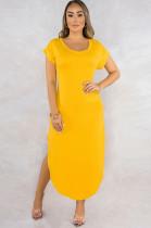 Yellow Round Neck Roll-up Short Sleeve Side Split Long Dress Q506