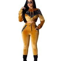 Yellow Fleece Sequined Hooded Sport Pant Set MA6290