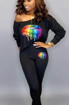Black Casual Polyester Mouth Graphic Long Sleeve Tee Top Long Pants Sets AA5100