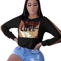 Black Wholesale Sequin Patchwork Long Sleeved Casual T-Shirt YYZ840